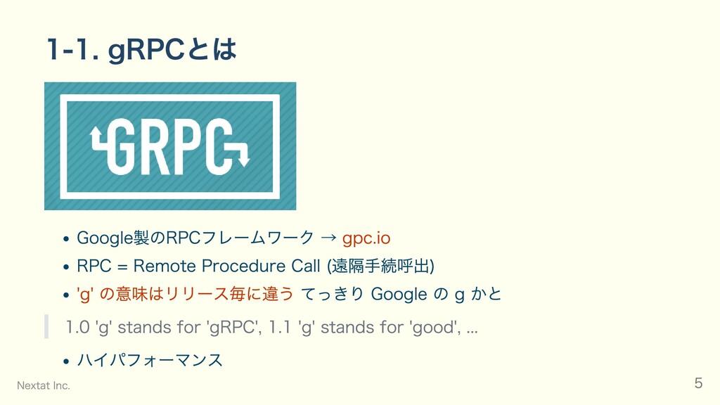 1-1. gRPCとは Google製のRPCフレームワーク → gpc.io RPC = R...