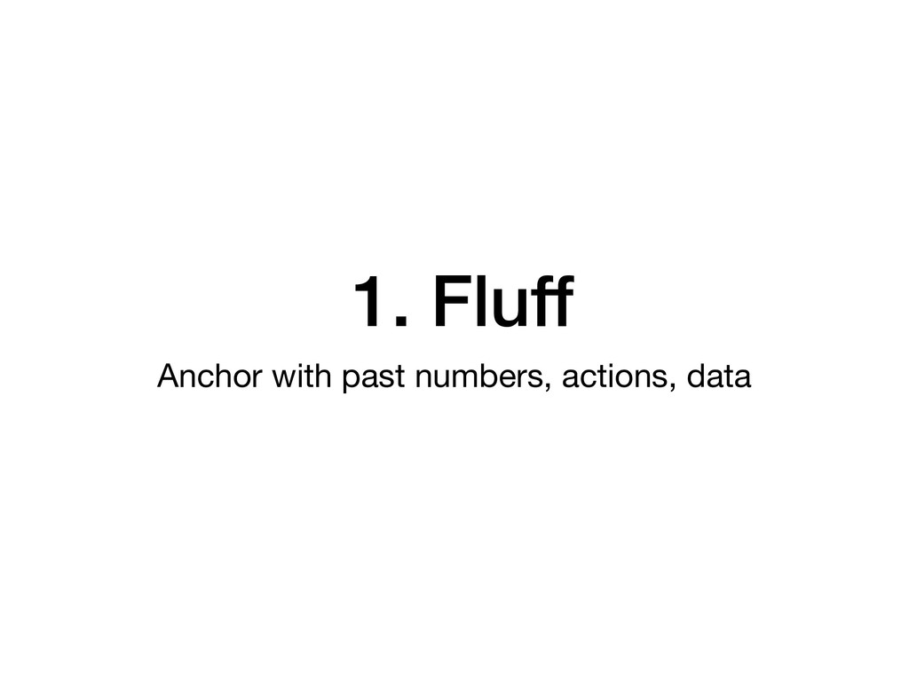 1. Fluff Anchor with past numbers, actions, data