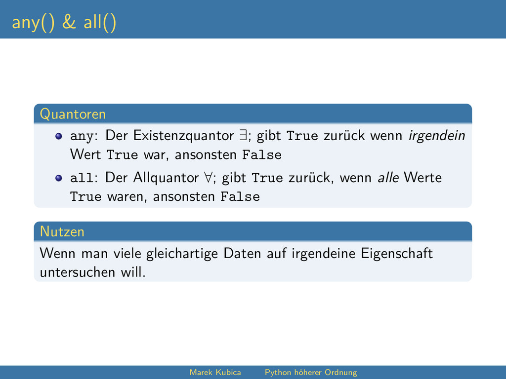 any() & all() Quantoren any: Der Existenzquanto...