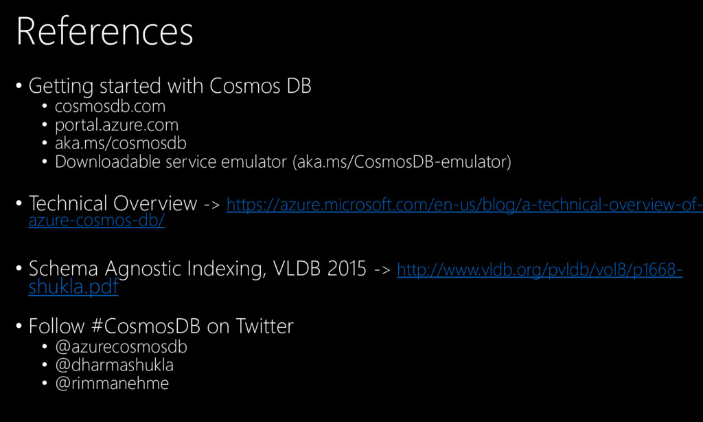 References • Getting started with Cosmos DB • c...