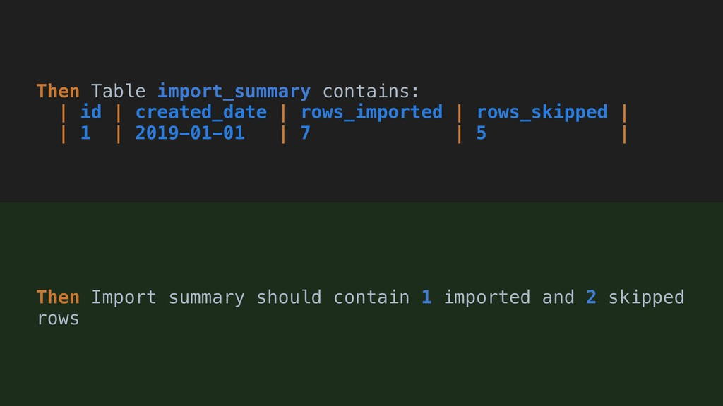 Then Table import_summary contains:   id   crea...