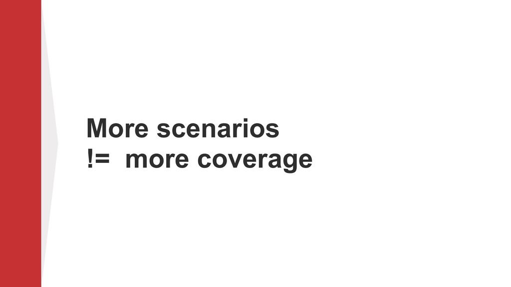 More scenarios != more coverage