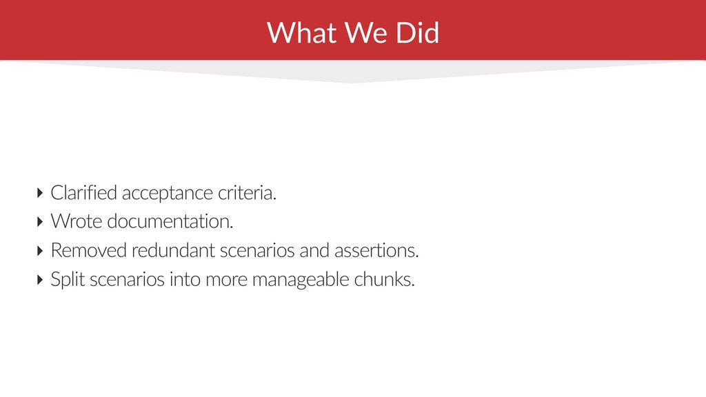 What We Did ‣ Clarified acceptance criteria. ‣ ...