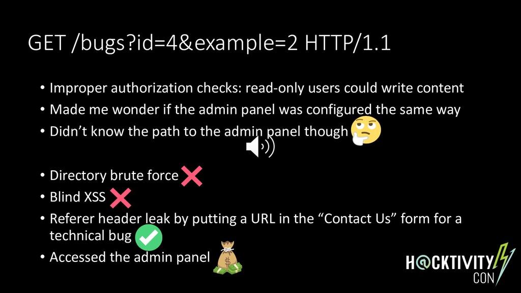 GET /bugs?id=4&example=2 HTTP/1.1 • Improper au...