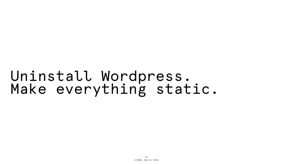 A MAZE. Berlin 2016 Uninstall Wordpress. Make e...