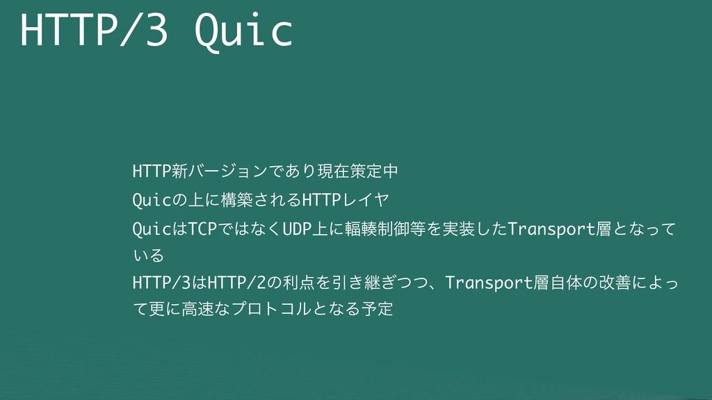 HTTP/3 Quic HTTP৽όʔδϣϯͰ͋Γݱࡏࡦఆத Quicͷ্ʹߏங͞ΕΔHTTP...