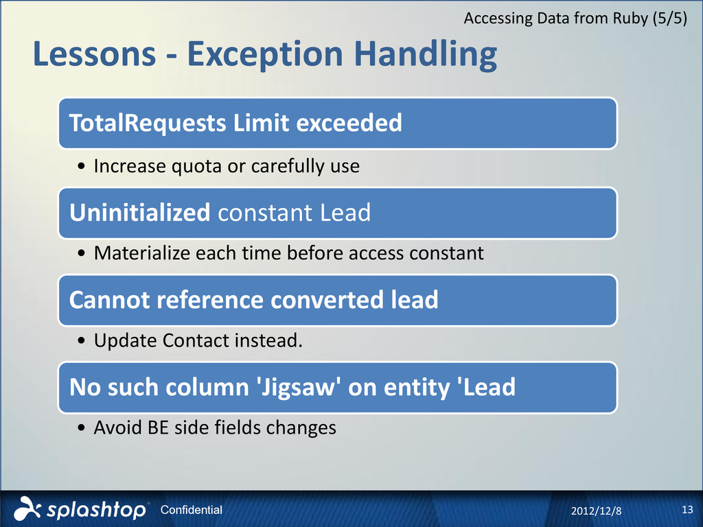 13 Confidential Lessons - Exception Handling 20...