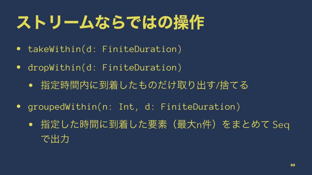 ετϦʔϜͳΒͰͷૢ࡞ • takeWithin(d: FiniteDuration) • ...