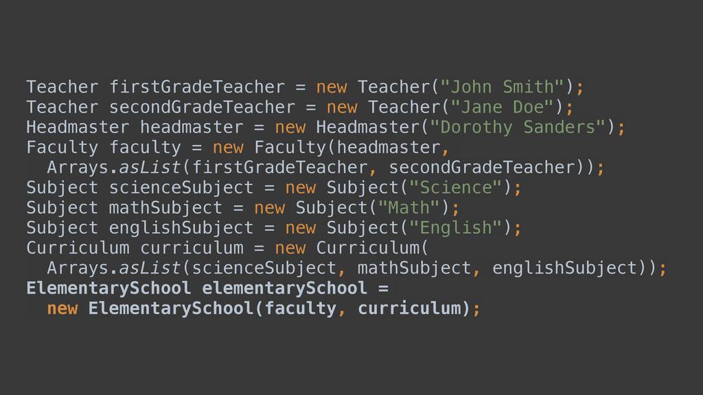 """Teacher firstGradeTeacher = new Teacher(""""John S..."""
