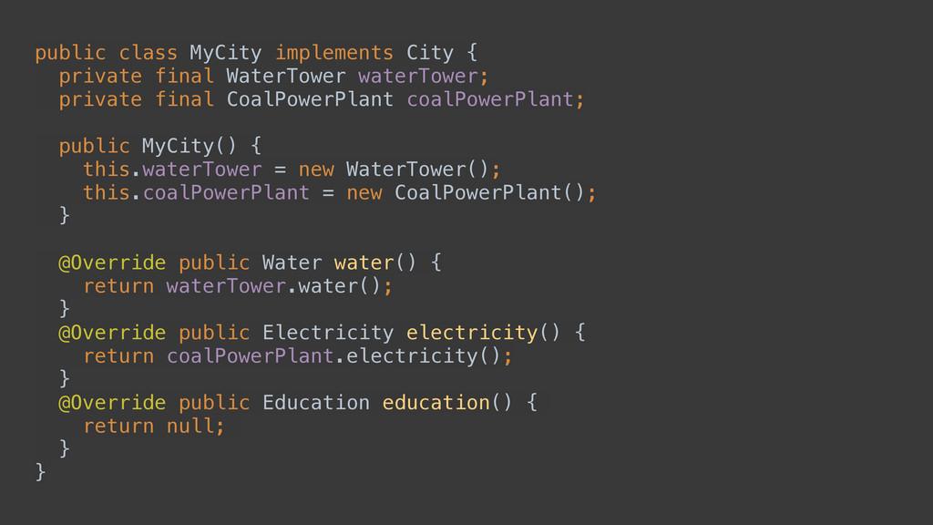 public class MyCity implements City { private ...