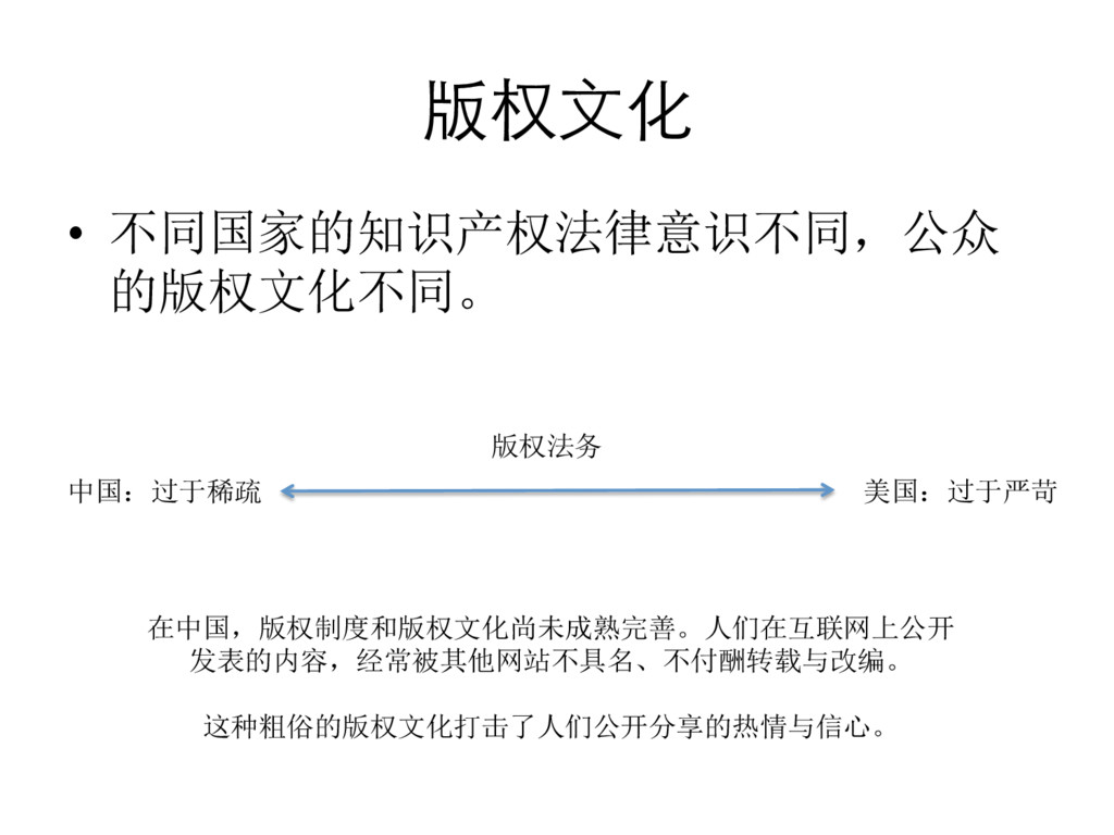 版权⽂文化  • 不同国家的知识产权法律意识不同,公众 的版权文化不同。  中国...