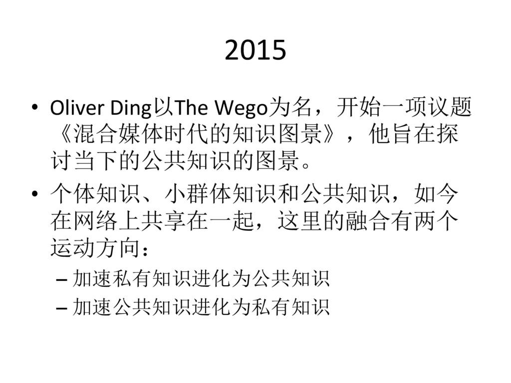 2015  • Oliver Ding以The Wego为名,开始一项议题...
