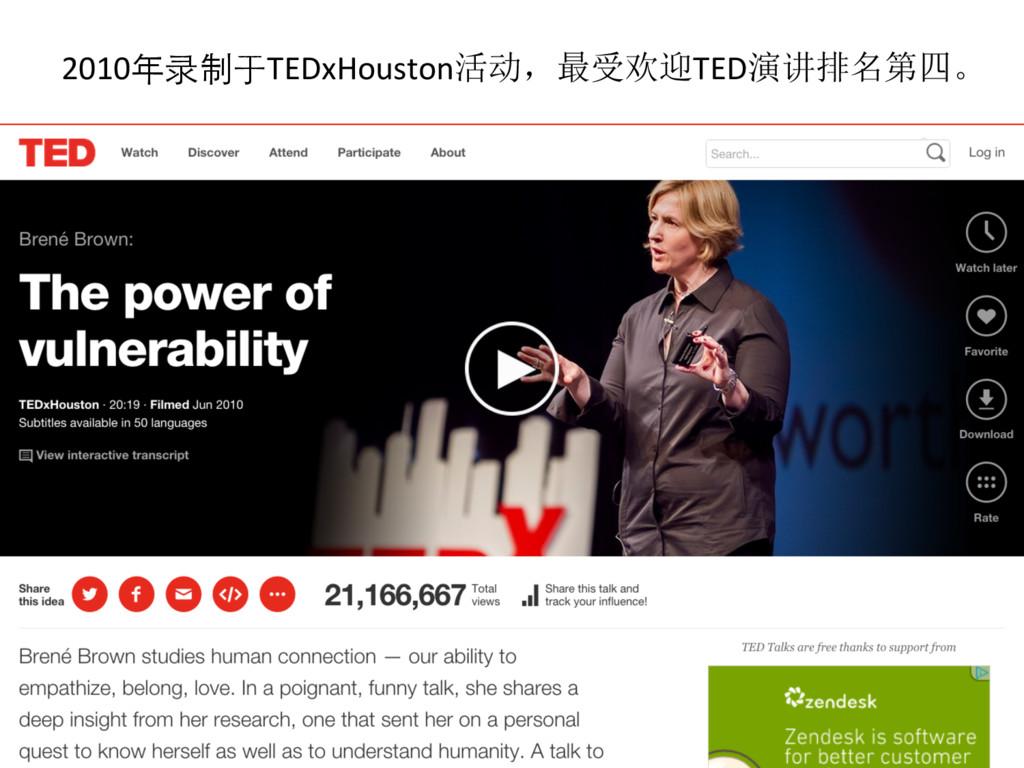 2010年录制于TEDxHouston活动,最受欢迎TED演讲排名第四。