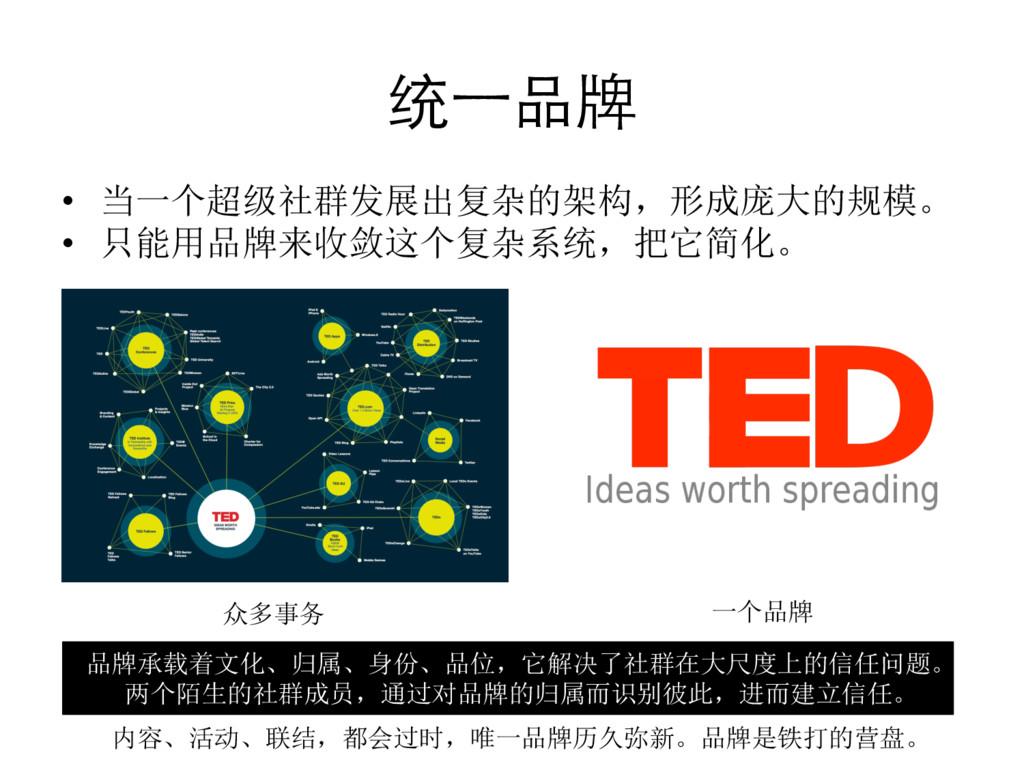 统⼀一品牌  • 当一个超级社群发展出复杂的架构,形成庞大的规模。  • 只能...