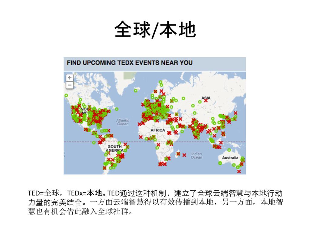 全球/本地  TED=全球,TEDx=本地。TED通过这种机制,建⽴立了全球云端智慧与本...