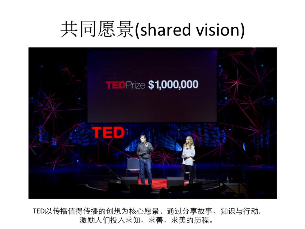 共同愿景(shared vision)  TED以传播值得传播的创想为核⼼心愿景,...