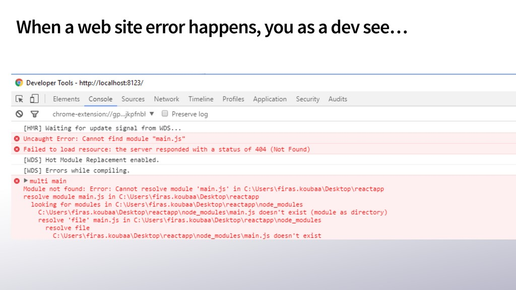 When a web site error happens, you as a dev see…
