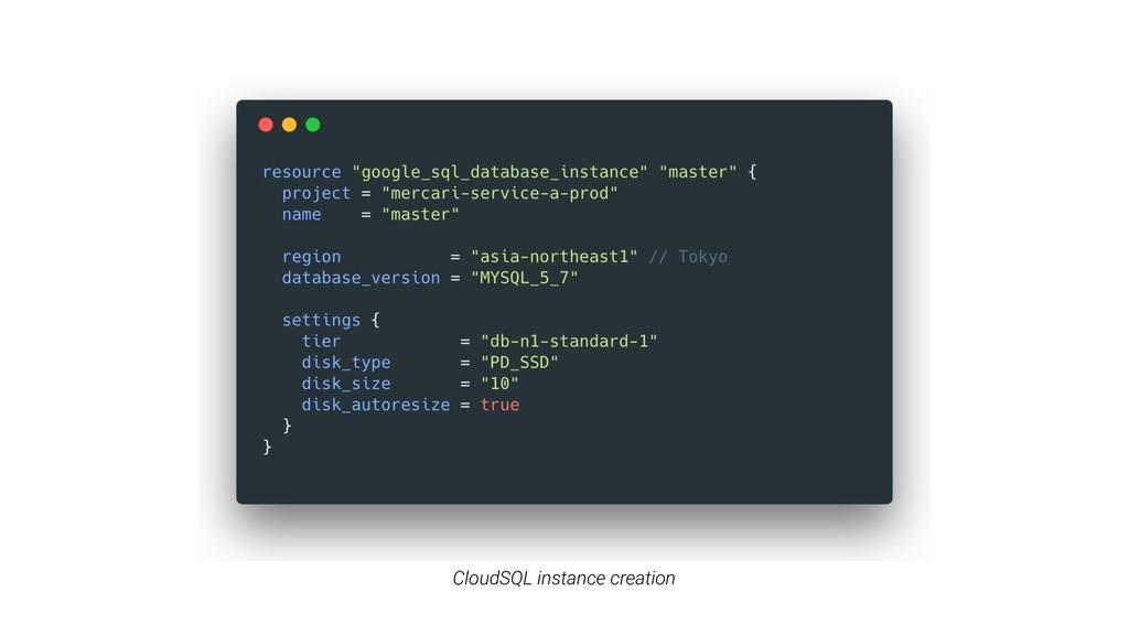 CloudSQL instance creation