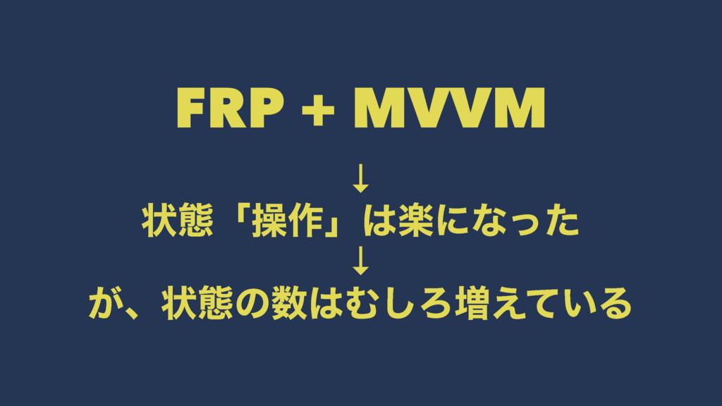 FRP + MVVM ↓ ঢ়ଶʮૢ࡞ʯָʹͳͬͨ ↓ ͕ɺঢ়ଶͷΉ͠Ζ૿͍͑ͯΔ