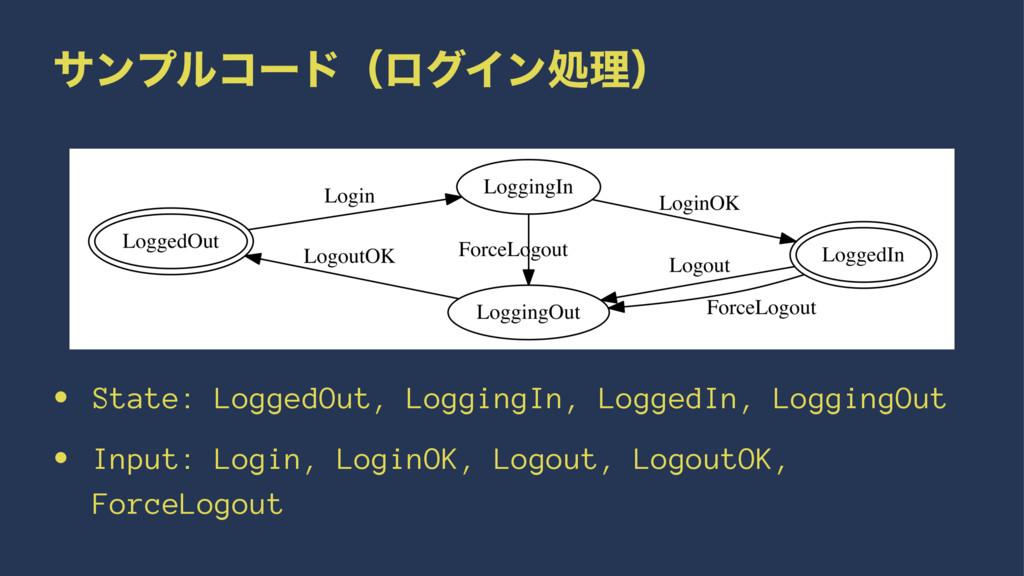 αϯϓϧίʔυʢϩάΠϯॲཧʣ • State: LoggedOut, LoggingIn, ...