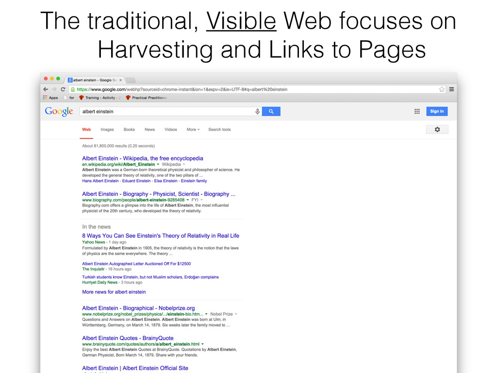 The traditional, Visible Web focuses on 