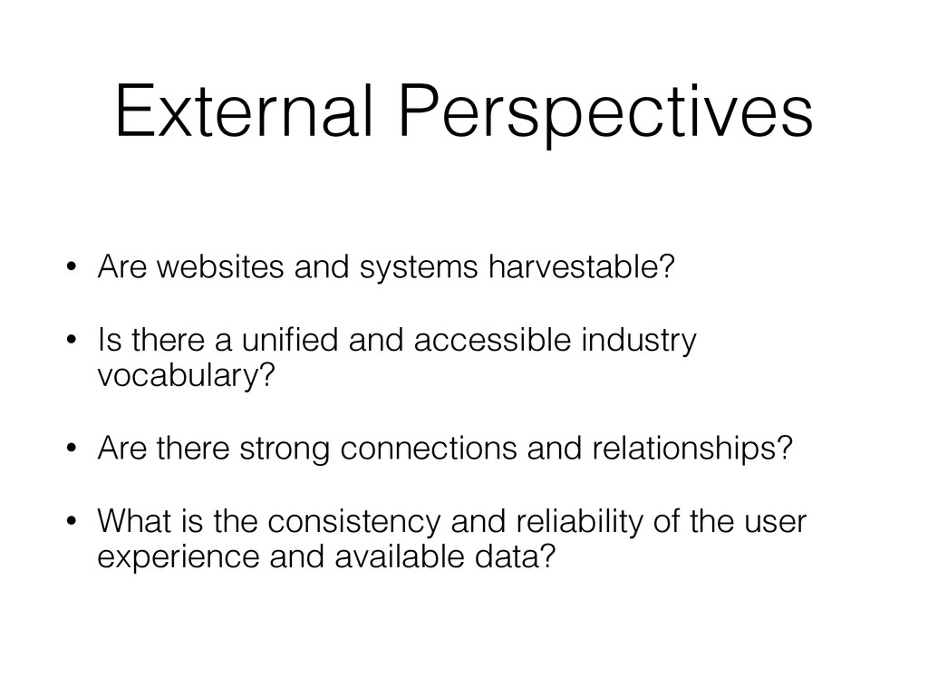 External Perspectives • Are websites and system...
