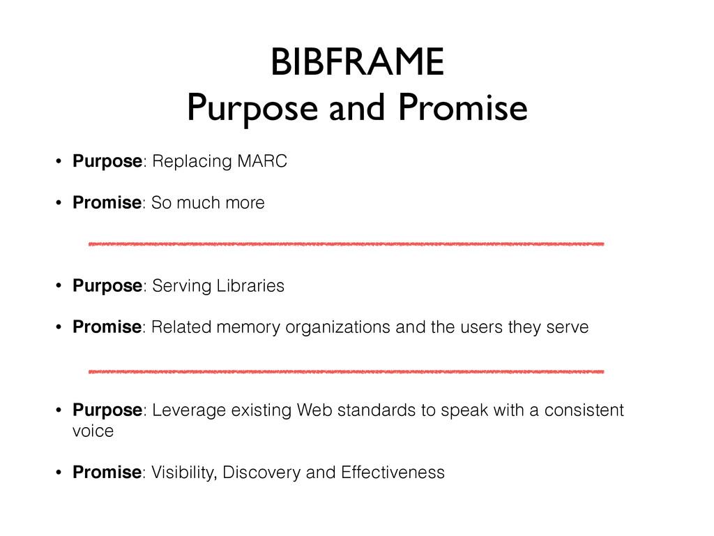 BIBFRAME Purpose and Promise • Purpose: Replaci...