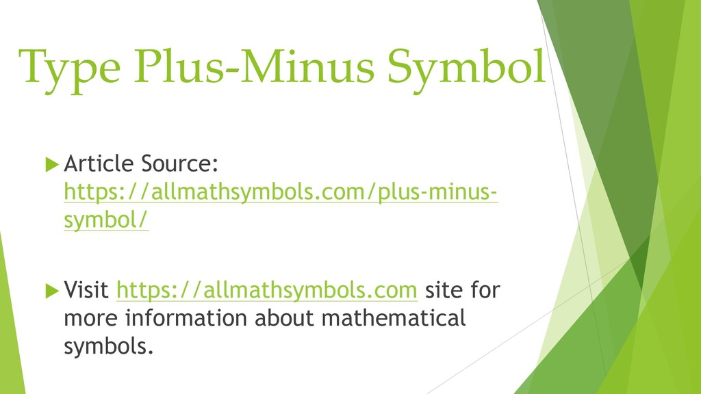 Type Plus-Minus Symbol  Article Source: https:...