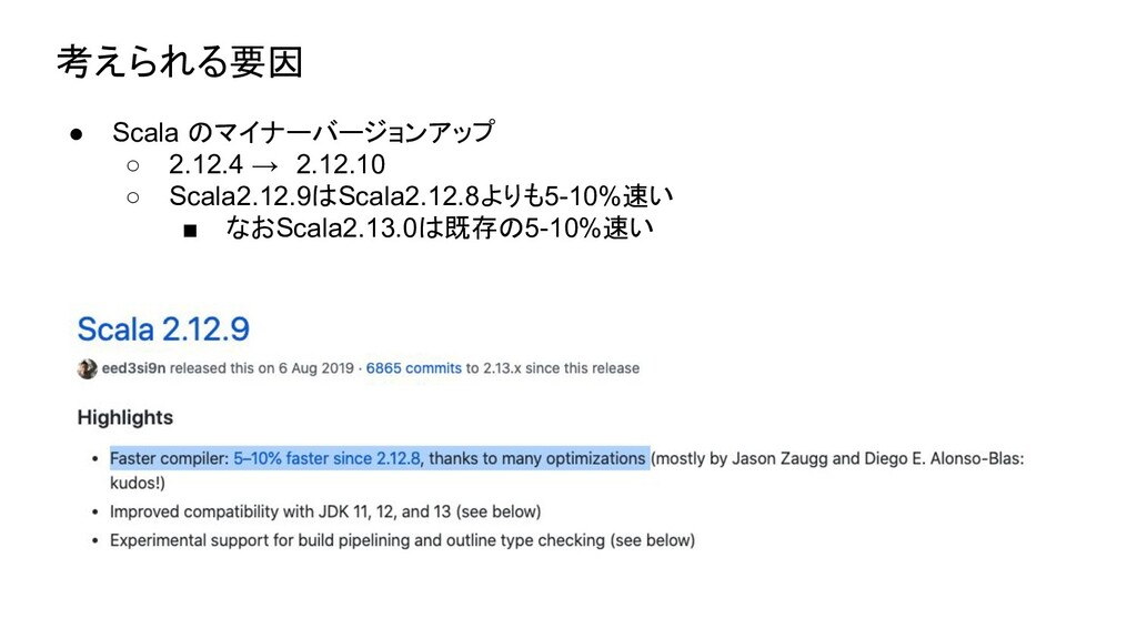 考えられる要因 ● Scala のマイナーバージョンアップ ○ 2.12.4 → 2.12.1...