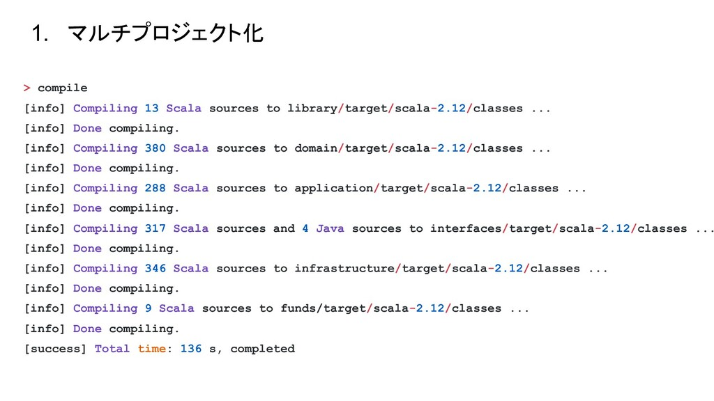 > compile [info] Compiling 13 Scala sources to ...
