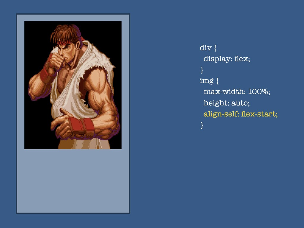 div { display: flex; } img { max-width: 100%; he...
