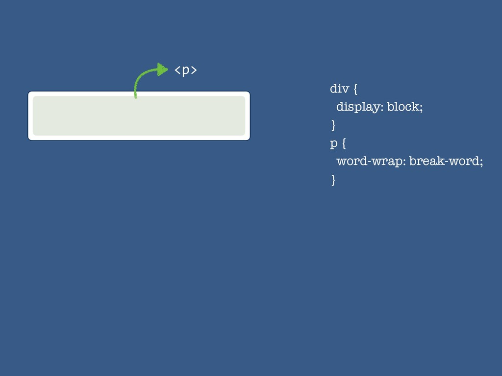 div { display: block; } p { word-wrap: break-wo...