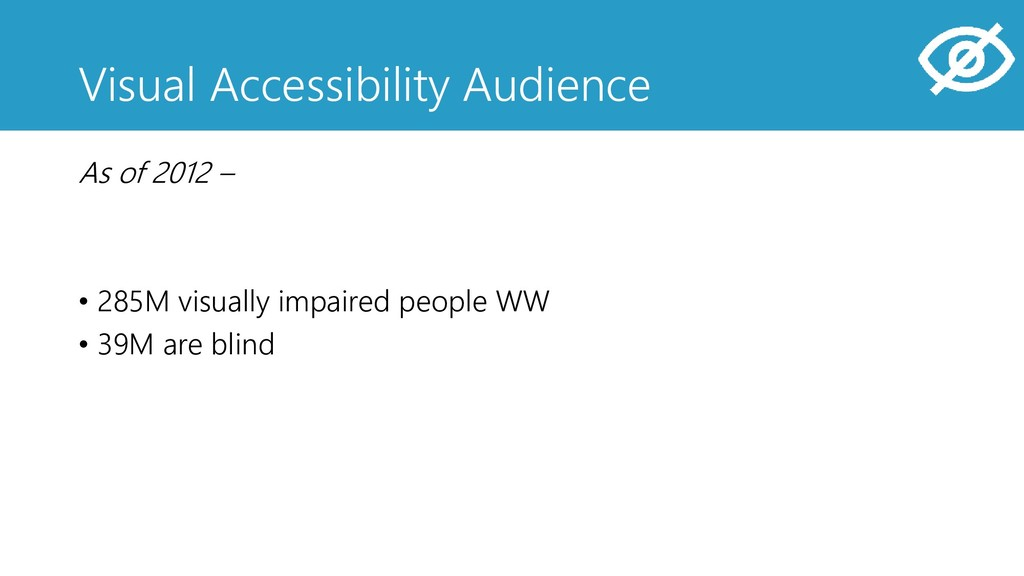 Visual Accessibility Audience As of 2012 – • 28...