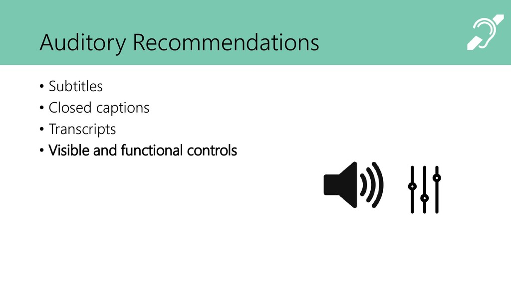 Auditory Recommendations • Subtitles • Closed c...