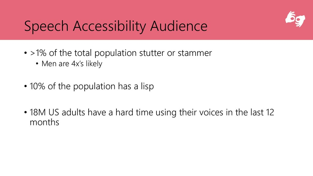 Speech Accessibility Audience • >1% of the tota...
