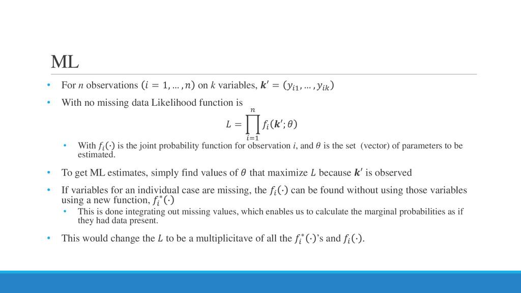 ML • For n observations  = 1, … ,  on k variabl...