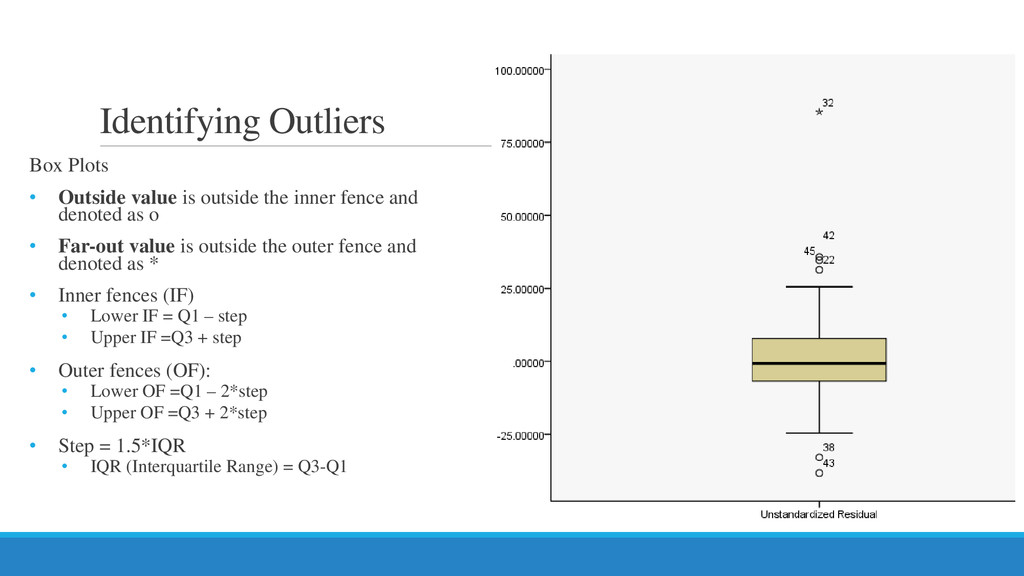 Identifying Outliers Box Plots • Outside value ...