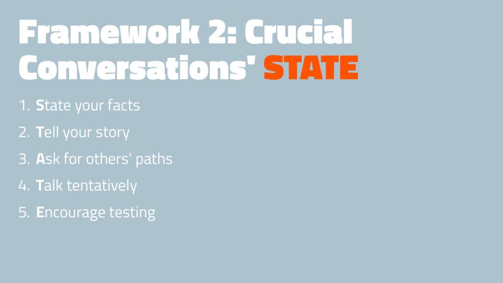 Framework 2: Crucial Conversations' STATE 1. St...