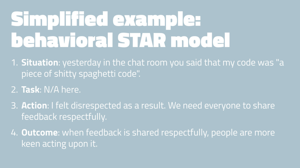 Simplified example: behavioral STAR model 1. Si...