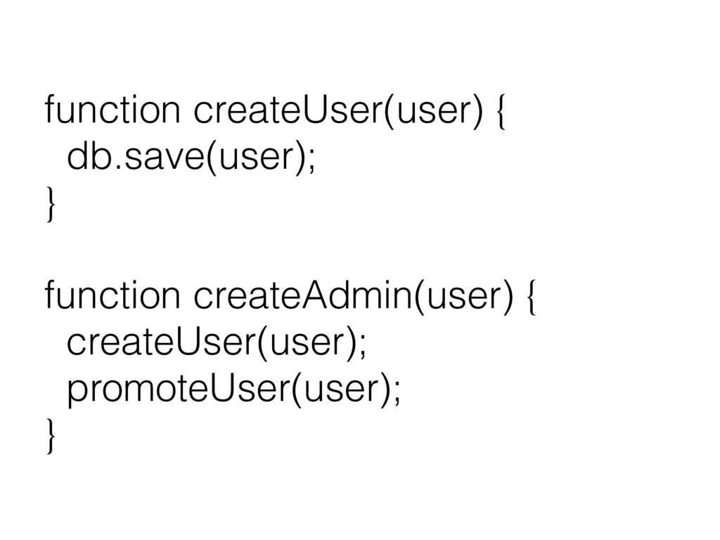 function createUser(user) { db.save(user); } fu...