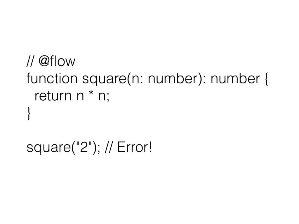// @flow function square(n: number): number { re...