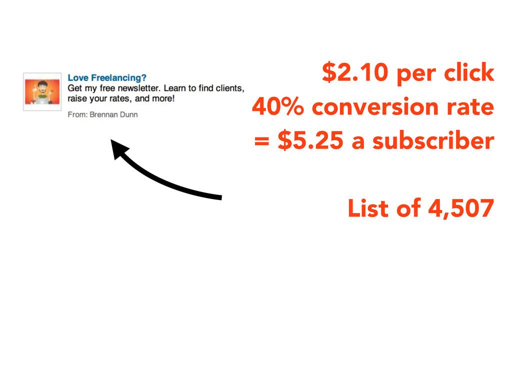 $2.10 per click ~40% conversion rate = $5.25 a ...