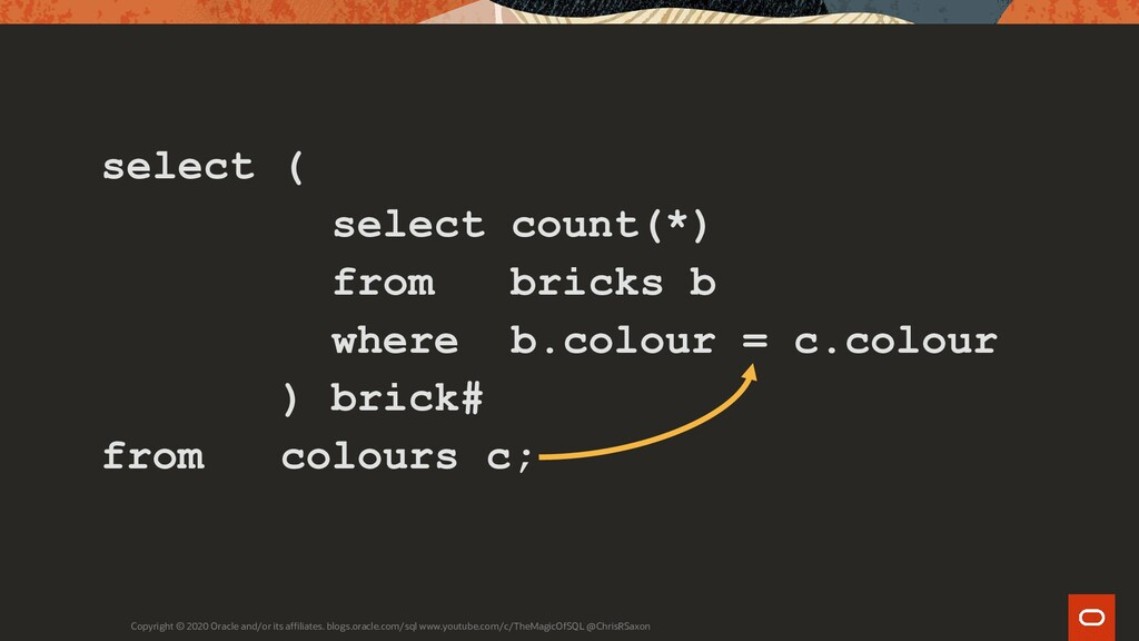 select ( select count(*) from bricks b where b....