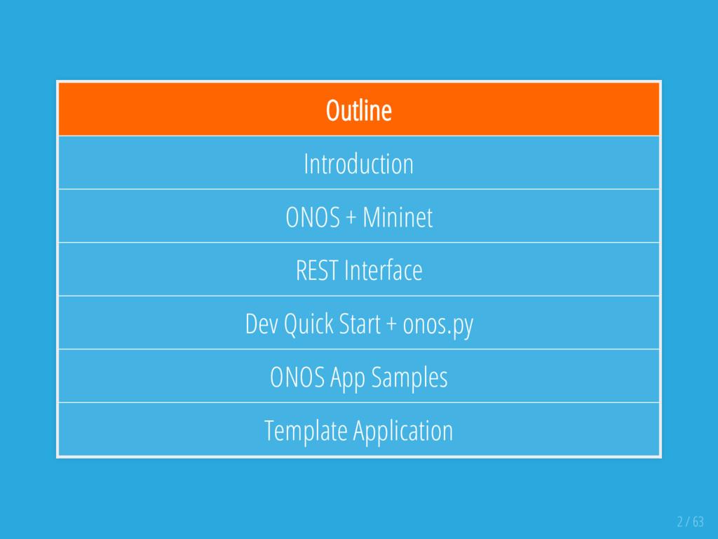 Outline Introduction ONOS + Mininet REST Interf...
