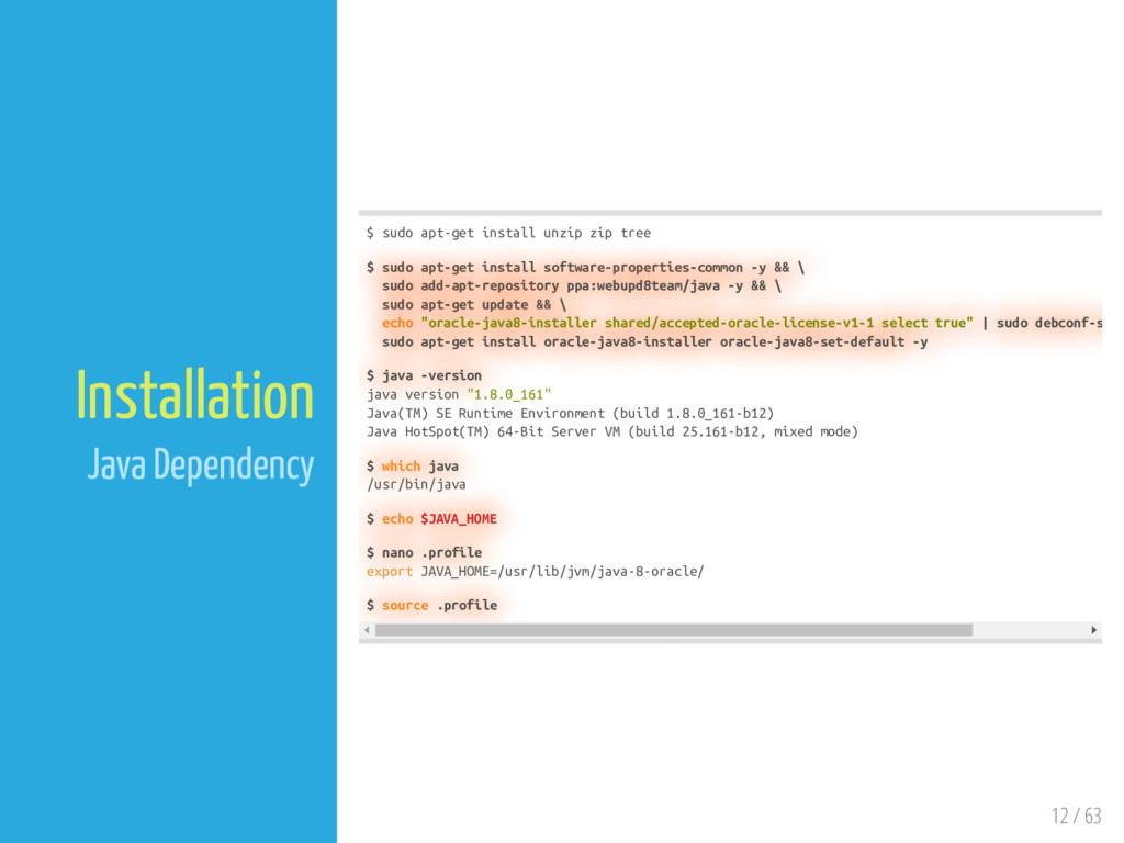 12 / 63 Installation Java Dependency $ sudo apt...