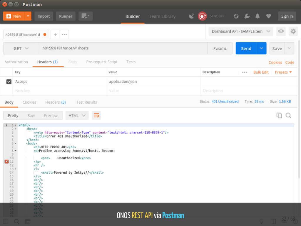 ONOS REST API via Postman 32 / 63