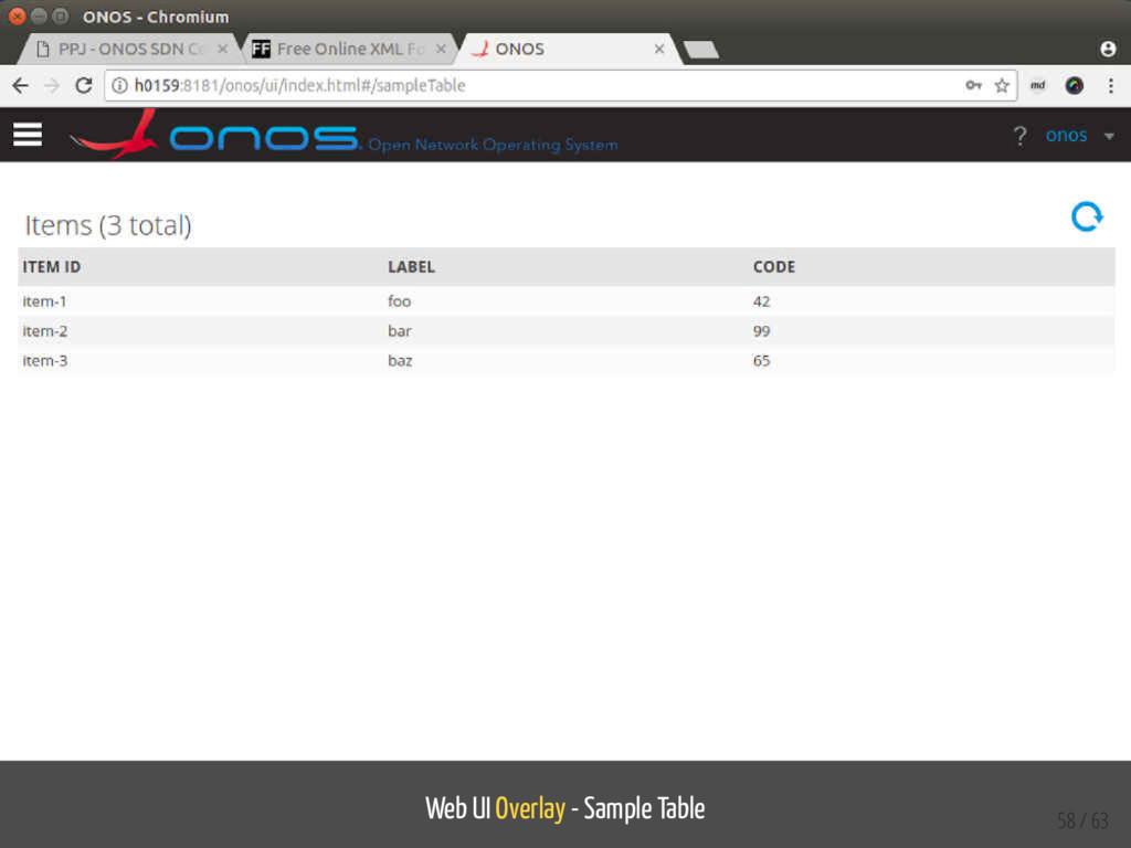 Web UI Overlay - Sample Table 58 / 63