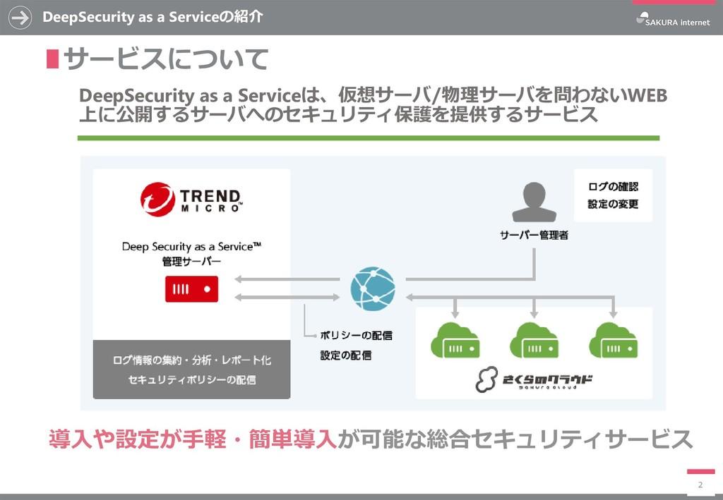 DeepSecurity as a Serviceの紹介 ∎サービスについて 2 DeepSe...