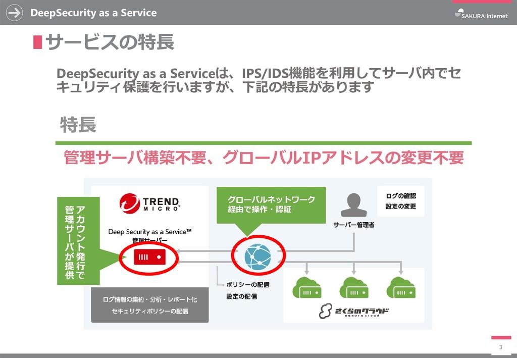 DeepSecurity as a Service 3 ∎サービスの特長 DeepSecuri...