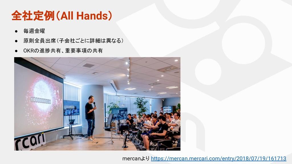 全社定例(All Hands) ● 毎週金曜 ● 原則全員出席(子会社ごとに詳細は異なる) ●...